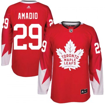 Authentic Adidas Youth Michael Amadio Toronto Maple Leafs Alternate Jersey - Red